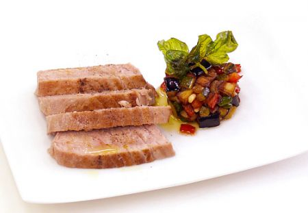 Seared tuna steak with aubergine caponata