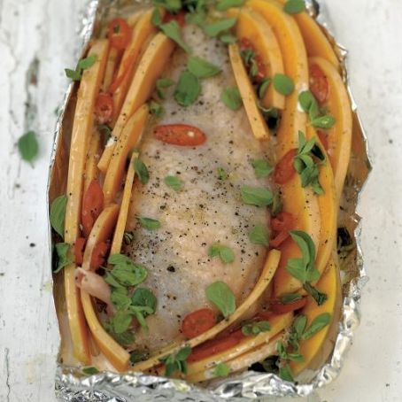 Roasted chicken breast with creamy butternut squash & chilli