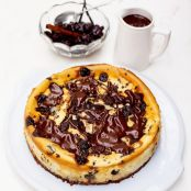 The best cherry & chocolate cheesecake with warm chocolate sauce.