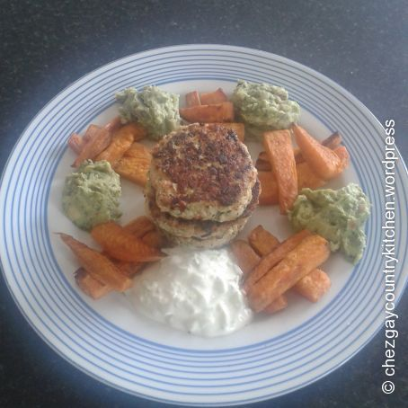 Thai style turkey burgers with sweet potato chips and guacamole