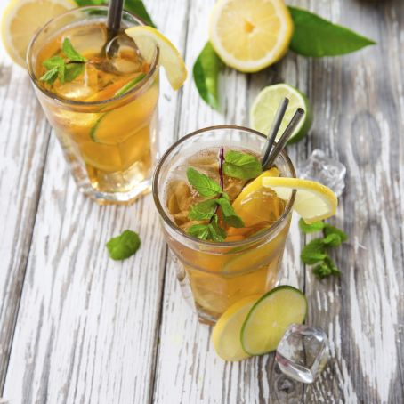Green Tea with Ginger, Honey and Mint.
