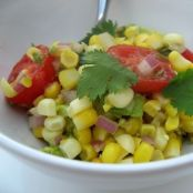 Warm cherry tomato and sweetcorn salad