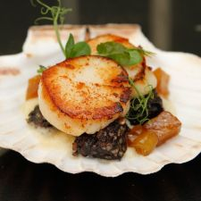 Clonakilty Blackpudding And Scallops With Bacon And Colcannon