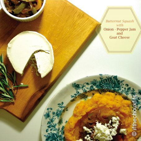 Butternut squash mash with onion and jam