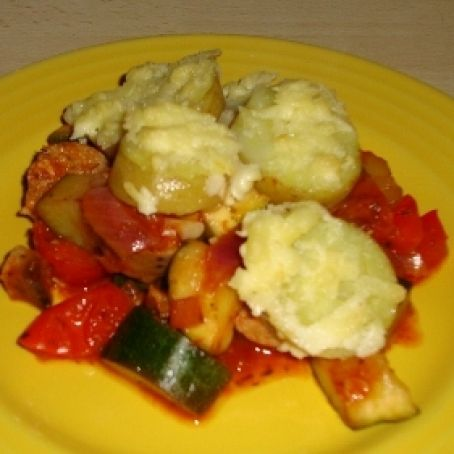 Vegetarian Sausage & Cheese Potato & vegetable bake