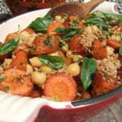Roasted carrots and chickpeas with hemp pesto and gomasio