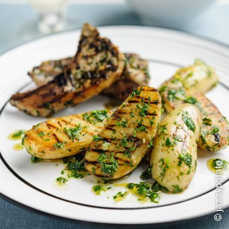 Griddled Jazzy Potatoes with Herbed Lamb Chops