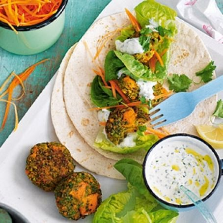 Sweet Potato and Pea Falafel with yogurt and herb sauce