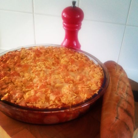 Mexican Pasta bake with a nacho crumb