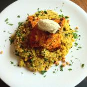 Moroccan Spiced Chicken, Bulgur Wheat Pilaf and Pecorino Ice cream