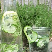 Lemon, cucumber and thyme water
