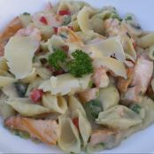 Seared Salmon and Prawn Pasta