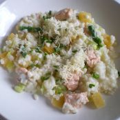 Creamy Trout, Butternut squash and Asparagus Risotto
