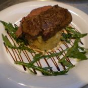 Fillet Steak Flambed in Cognac with Crushed Potatoes and Chives