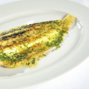 Pan-fried lemon sole with caper and parsley dressing