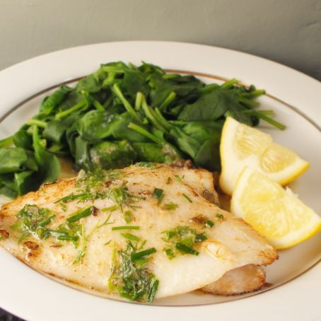 Lemon sole with Parmesan spinach