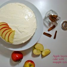 Apple layered cake with maple syrup icing