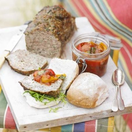 Meatloaf with squashed tomato & pepper salsa