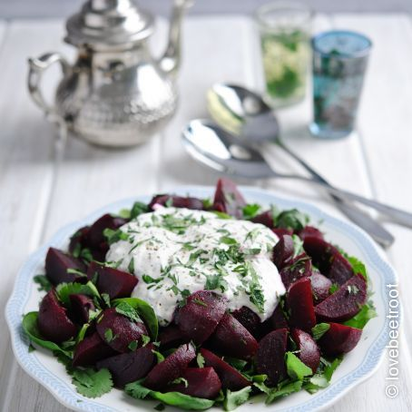 Moroccan Beetroot & Herb Salad with Rachel's Organic Natural Yogurt Dressing