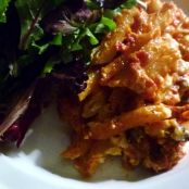 Tomato Pasta Bake with Salad
