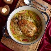 Pot-roast chicken with cider & Pink Lady® apples