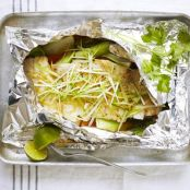 Steamed fish with ginger & spring onion