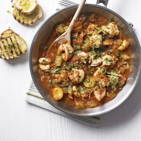 Prawn and Tomato Stew with Gremolata Topping