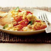 Tomato Basil and Cheese scrambled eggs