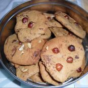 Chocolate chip and hazelnut and almond cookies