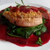 Roast Turkey With Cheese & Craker Crust and Beetroot Gravy