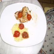 Sea bass with mashed sweet potatoes, confit tomatoes with sweet basil