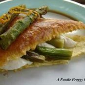 Mille-feuille of asparagus and almond cream and Parmesan