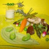 Medley of spring vegetables, mashed beans, veal with mustard and a rosemary emulsion