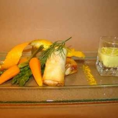 Salmon Pastry Parcels with Asparagus and Baby Carrots