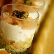 Pesto and salmon verrines with goat cheese and grapefruit