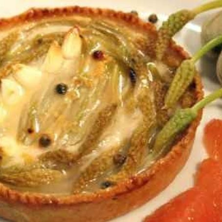 Wild asparagus tart and fresh almonds