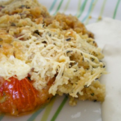 Tomato crumble with fresh rosemary, goat cheese sauce and thyme