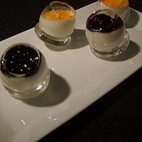Duo of panna cotta with feta cheese
