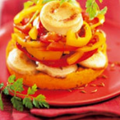 White pudding timbale with carrots and peppers