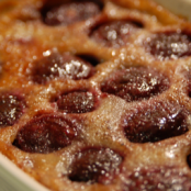 Caramelised clafoutis with flambéed cherries