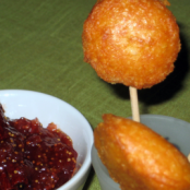 Cheese and apple chutney lolly-pops
