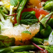 Colourful bean, orange and grapefruit salad