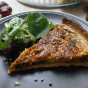 Autumn pumpkin, mushroom and chestnut tart