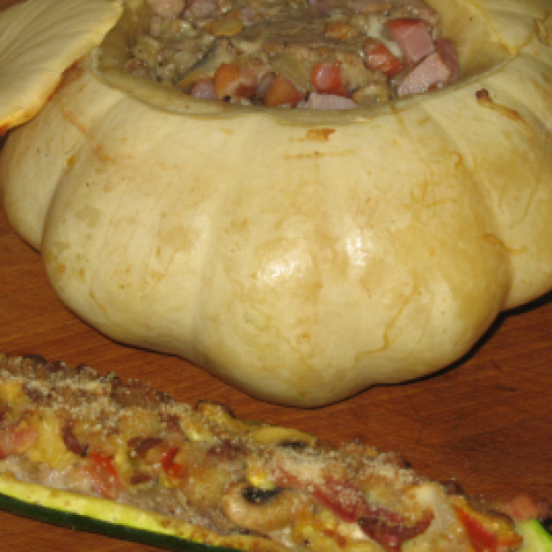 Stuffed Marrow and Courgettes