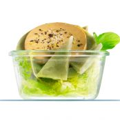 Verrine of foie gras and artichoke salad