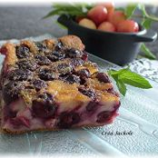 Cherry clafoutis with mint