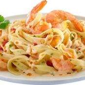 Tagliatelle with prawns in Philadelphia