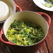 Spring daude with asparagus, broad beans and ginger