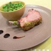 Pisttachio-crusted rack of lamb with a duo of peas and beans in lemon confit