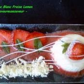 White chocolate, strawberry and lemon cream dessert